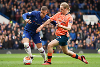 Chelsea's Ross Barkley shields the ball from Everton's Tom Davies<br /> <br /> Photographer Stephanie Meek/CameraSport<br /> <br /> The Premier League - Chelsea v Everton - Sunday 8th March 2020 - Stamford Bridge - London<br /> <br /> World Copyright © 2020 CameraSport. All rights reserved. 43 Linden Ave. Countesthorpe. Leicester. England. LE8 5PG - Tel: +44 (0) 116 277 4147 - admin@camerasport.com - www.camerasport.com