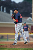 Lowell Spinners starting pitcher Nick Duron (43) during a game against the Batavia Muckdogs on July 12, 2017 at Dwyer Stadium in Batavia, New York.  Batavia defeated Lowell 7-2.  (Mike Janes/Four Seam Images)