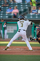Taylor Ward (3) of the Salt Lake Bees at bat against the Sacramento River Cats at Smith's Ballpark on July 18, 2019 in Salt Lake City, Utah. The Bees defeated the River Cats 9-6. (Stephen Smith/Four Seam Images)
