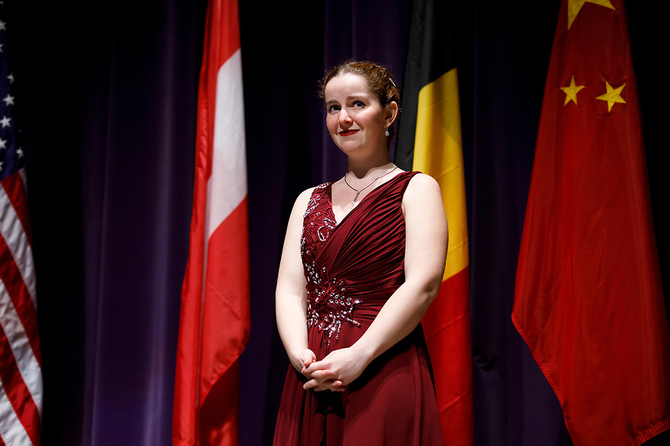 First prize winner Melanie Laurent from France stands to receive her first-prize medal during the awards ceremony of the 11th USA International Harp Competition at Indiana University in Bloomington, Indiana on Saturday, July 13, 2019. (Photo by James Brosher)