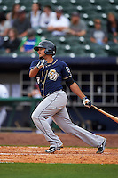 San Antonio Missions second baseman Diego Goris (2) at bat during a game against the NW Arkansas Naturals on May 31, 2015 at Arvest Ballpark in Springdale, Arkansas.  NW Arkansas defeated San Antonio 3-1.  (Mike Janes/Four Seam Images)