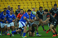 Samoa's Jack Lam passes to Jonah Aoina during the international rugby match between Manu Samoa and the Maori All Blacks at Sky Stadium in Wellington, New Zealand on Saturday, 26 June 2021. Photo: Dave Lintott / lintottphoto.co.nz