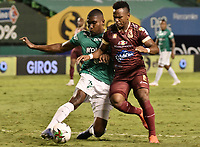 PALMIRA - COLOMBIA, 31-10-2020: Kevin Moreno del Cali disputa el balón con Jaminton Leandro Campaz del Tolima durante partido entre Deportivo Cali y Deportes Tolima por la fecha 17 de la Liga BetPlay DIMAYOR 2020 jugado en el estadio Deportivo Cali de la ciudad de Palmira. / Kevin Moreno of Cali vies for the ball with Jaminton Leandro Campaz of Tolima during match between Deportivo Cali and Deportes Tolima for the date 17 as part of BetPlay DIMAYOR League 2020 played at Deportivo Cali stadium in Palmira city.  Photo: VizzorImage / Gabriel Aponte / Staff