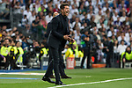 Diego Pablo Cholo Simeone coach of Atletico de Madrid shouts instructions from the sideline  during the match of Champions League between Real Madrid and Atletico de Madrid at Santiago Bernabeu Stadium  in Madrid, Spain. May 02, 2017. (ALTERPHOTOS/Rodrigo Jimenez)