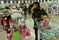 A dog is pushed  in a trolley at a shop that specializes in dogs clothes in Tokyo, Japan. <br /> 20-Jan-2011