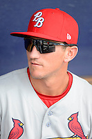 Palm Beach Cardinals second baseman Colin Walsh #8 before a game against the Charlotte Stone Crabs at Charlotte Sports Park on April 7, 2013 in Port Charlotte, Florida.  Palm Beach defeated Charlotte 8-1.  (Mike Janes/Four Seam Images)