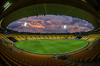 A general view during the third international men's T20 cricket match between the New Zealand Black Capss and Australia at Sky Stadium in Wellington, New Zealand on Wednesday, 3 March 2021. Photo: Dave Lintott / lintottphoto.co.nz