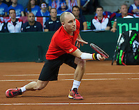 Gent, Belgium, November 28, 2015, Davis Cup Final, Belgium-Great Britain, day two, doubles match, Steve Darcis (BEL) <br /> Photo: Tennisimages/Henk Koster
