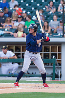Koyie Hill (23) of the Lehigh Valley IronPigs at bat against the Charlotte Knights at BB&T Ballpark on May 8, 2014 in Charlotte, North Carolina.  The IronPigs defeated the Knights 8-6.  (Brian Westerholt/Four Seam Images)