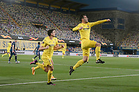 29th April 2021; Ceramica Stadium, Villareal, Spain; EUropa League semi-final football, Villareal CF versus Arsenal;  Manu Triguerof Villarreal CF celebrates his goal for 1-0 in the 5th minute with his teammates