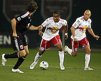 Dejan Jakevic (5) of D.C. United watches Juan Agudelo (17) and Joel Lindpere (20) of the New York Red Bulls during an MLS match at RFK Stadium, in Washington D.C. on April 21 2011. Red Bulls won 4-0.