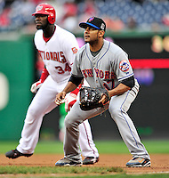 30 September 2009: New York Mets' first baseman Fernando Tatis (right) holds the runner at first during a game against the Washington Nationals at Nationals Park in Washington, DC. The Nationals rallied in the bottom of the 9th inning on a Justin Maxwell walk-off Grand Slam to win 7-4 and sweep the Mets' 3-game series, capping the Nationals' 2009 home season. Mandatory Credit: Ed Wolfstein Photo