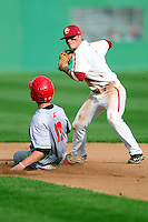 Boston College Eagles second baseman Blake Butera (3) turns a double play during a game versus the Hartford Hawks at Pellagrini Diamond at Shea Field on May 9, 2015 in Chestnut Hill, Massachusetts. (Ken Babbitt/Four Seam Images)