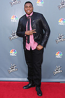 """UNIVERSAL CITY, CA, USA - APRIL 15: T.J. Wilkins at NBC's """"The Voice"""" Season 6 Top 12 Red Carpet Event held at Universal CityWalk on April 15, 2014 in Universal City, California, United States. (Photo by Xavier Collin/Celebrity Monitor)"""