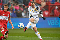 Bridgeview, IL - Saturday April 14, 2018: Grant Lillard, Zlatan Ibrahimovic during a regular season Major League Soccer (MLS) match between the Chicago Fire and the LA Galaxy at Toyota Park.  The LA Galaxy defeated the Chicago Fire by the score of 1-0.
