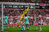 11th September 2021;  Bet365 Stadium, Stoke, Staffordshire, England; EFL Championship football, Stoke City versus Huddersfield Town; Goalkeeper Lee Nicholls of Huddersfield Town thumps the ball clear