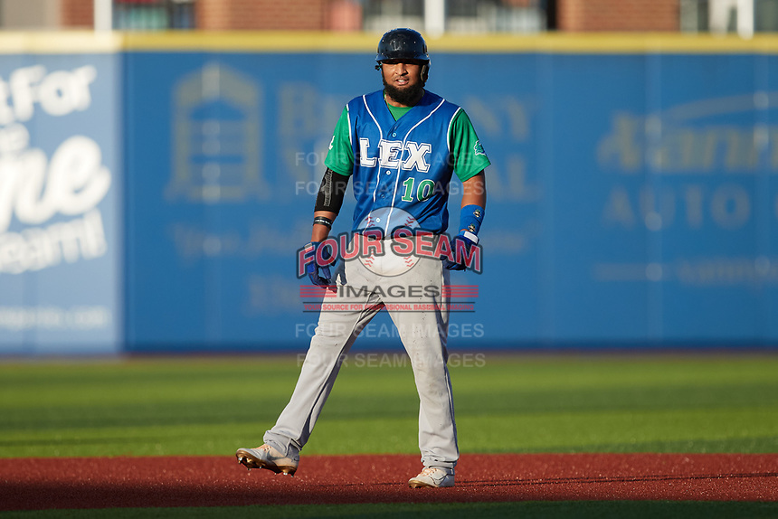 Roberto Baldoquin (10) of the Lexington Legends takes his lead off of second base against the High Point Rockers at Truist Point on June 16, 2021, in High Point, North Carolina. The Legends defeated the Rockers 2-1. (Brian Westerholt/Four Seam Images)