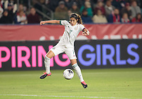 CARSON, CA - FEBRUARY 7: Daniela Espinosa #7 of Mexico moves with the ball during a game between Mexico and USWNT at Dignity Health Sports Park on February 7, 2020 in Carson, California.
