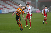 Martin Samuelsen of Hull City and Charlie Carter of Stevenage during Stevenage vs Hull City, Emirates FA Cup Football at the Lamex Stadium on 29th November 2020