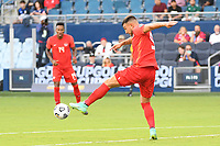 KANSAS CITY, KS - JULY 15: Lucas Cavallini #9 of Canada with the ball during a game between Canada and Haiti at Children's Mercy Park on July 15, 2021 in Kansas City, Kansas.