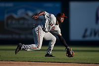 San Jose Giants second baseman Jalen Miller (2) fields a ground ball during a California League game against the Modesto Nuts at John Thurman Field on May 9, 2018 in Modesto, California. San Jose defeated Modesto 9-5. (Zachary Lucy/Four Seam Images)