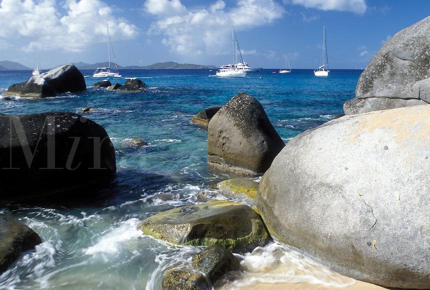 BVI, The Baths, Virgin Gorda, British Virgin Islands, Caribbean, Scenic view of the rocky coastline of Devils Bay Nat'l Park at The Baths on Virgin Gorda on the Caribbean Sea.