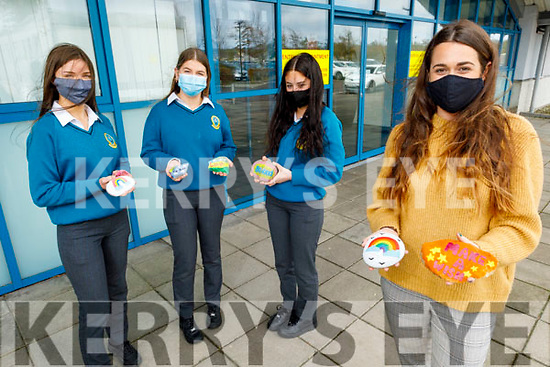 The Anxiety Society TY class in Mercy Mounthawk on Tuesday display their works on dealing with anxiety. Front right: Miss Emma Nolan (Teacher). Back l to r: Siúna Crowe, Amy Keane and Amy O'Connor.