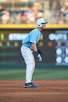 Cody Roberts (11) of the North Carolina Tar Heels takes his lead off of second base against the South Carolina Gamecocks at BB&T BallPark on April 3, 2018 in Charlotte, North Carolina. The Tar Heels defeated the Gamecocks 11-3. (Brian Westerholt/Four Seam Images)