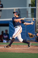 Bradley Keller (25) of the Danville Braves follows through on his swing against the Pulaski Yankees at American Legion Post 325 Field on July 31, 2016 in Danville, Virginia.  The Yankees defeated the Braves 8-3.  (Brian Westerholt/Four Seam Images)