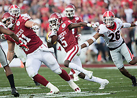 Pasadena, CA - January 1, 2018: The number 2 ranked University of Oklahoma Sooners face the number 3 ranked University of Georgia Bulldogs in the National Playoff Semifinal at the Rose Bowl.  Final score Georgia 54, Oklahoma 48 in overtime.