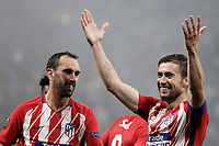 Club Atletico de Madrid's Gabi, right, celebrates with his teammate Diego Godin after scoring during the UEFA Europa League final football match between Olympique de Marseille and Club Atletico de Madrid at the Groupama Stadium in Decines-Charpieu, near Lyon, France, May 16, 2018.<br /> UPDATE IMAGES PRESS/Isabella Bonotto
