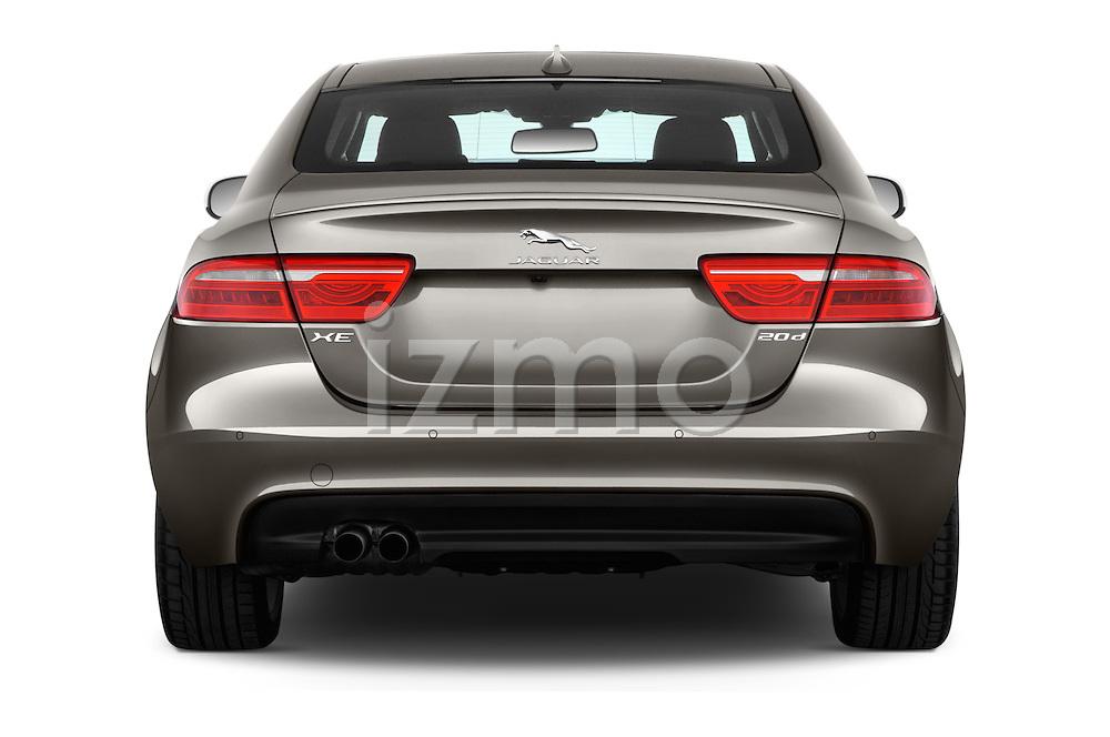 Straight rear view of 2018 Jaguar XE 4dr-Sdn-20d-R-Sport-RWD 4 Door Sedan Rear View  stock images