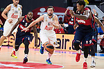 Real Madrid´s player Sergio Llull between Bayern Munich´s players Rivers and Thompson during the 4th match of the Turkish Airlines Euroleague at Barclaycard Center in Madrid, Spain, November 05, 2015. <br /> (ALTERPHOTOS/BorjaB.Hojas)
