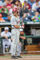 Arkansas Razorbacks outfielder Andrew Benintendi (16) at bat during the NCAA College baseball World Series against the Miami Hurricanes on June 15, 2015 at TD Ameritrade Park in Omaha, Nebraska. Miami beat Arkansas 4-3. (Andrew Woolley/Four Seam Images)