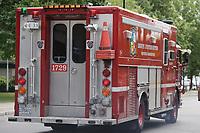 August 2012 File Photo - Montreal (Quebec) CANADA - <br /> Montreal city firetruck<br /> <br /> Camion de pompier SIM (Services Incendies de Montreal)
