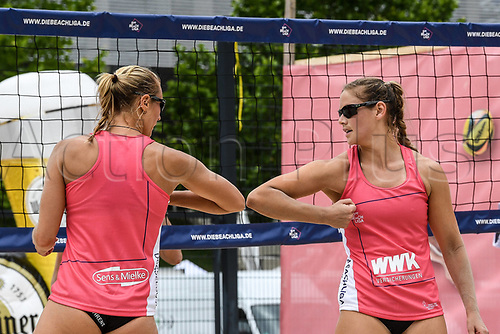 13th June 2020, Dusseldorf, Germany; Womens Beach League volleyball;  Cinja Tillmann and Kim Behrens elbow during the covid-19 virus