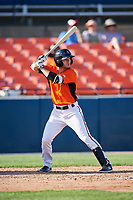 Frederick Keys center fielder Ryan McKenna (10) at bat during the first game of a doubleheader against the Lynchburg Hillcats on June 12, 2018 at Nymeo Field at Harry Grove Stadium in Frederick, Maryland.  Frederick defeated Lynchburg 2-1.  (Mike Janes/Four Seam Images)