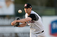Relief pitcher Garrett Johnson #17 of the Kannapolis Intimidators in action against the Rome Braves at Fieldcrest Cannon Stadium April 11, 2010, in Kannapolis, North Carolina.  Photo by Brian Westerholt / Four Seam Images