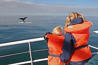 Kinder beobachten abtauchenden Pottwal vom Schiff aus, Pott-Wal, Pott - Wal, Walsafari, Wal-Safari, whale watching, Schwanzflosse, Fluke, Nord - Norwegen, Physeter macrocephalus, Potwal, Cachalot, Kaschelot<br /> sperm whale, great sperm whale, cachalot