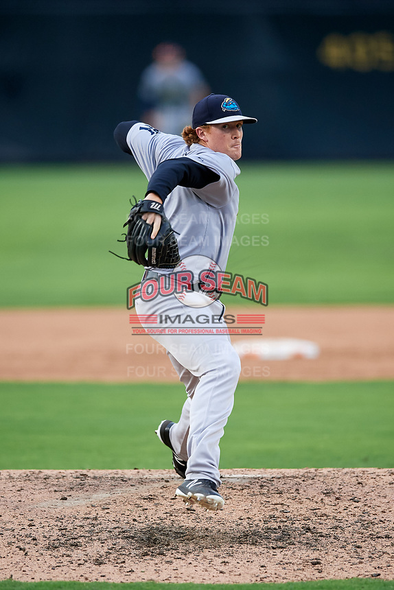 Trenton Thunder relief pitcher Caleb Frare (37) delivers a pitch during the first game of a doubleheader against the Bowie Baysox on June 13, 2018 at Prince George's Stadium in Bowie, Maryland.  Trenton defeated Bowie 4-3.  (Mike Janes/Four Seam Images)