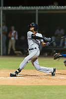 AZL Indians 2 second baseman Gionti Turner (10) follows through on his swing during an Arizona League game against the AZL Cubs 2 at Sloan Park on August 2, 2018 in Mesa, Arizona. The AZL Indians 2 defeated the AZL Cubs 2 by a score of 9-8. (Zachary Lucy/Four Seam Images)