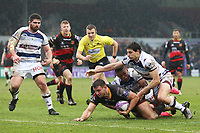 Elliot Dee of Dragons scores his sides first try of the match during the European Challenge Cup match between Dragons and Bordeaux Begles at Rodney Parade, Newport, Wales, UK. 20 January 2018