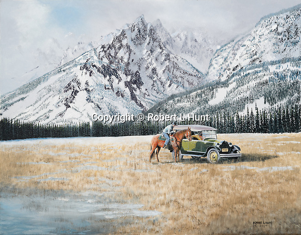 """A mounted cowboy rider meets with a REO car in the open range at the base of the Teton Mountains in 1920's Wyoming. Oil on canvas, 22"""" x 28""""."""