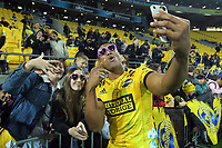 Hurricanes' Julian Savea with fans after the Super Rugby Tran-Tasman match between the Hurricanes and Reds at Sky Stadium in Wellington, New Zealand on Friday, 11 June 2020. Photo: Dave Lintott / lintottphoto.co.nz