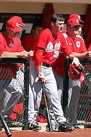 Ohio State Buckeyes designated hitter Josh Dezse #33 in the dugout during a game against the Coastal Carolina Chanticleers at Watson Stadium at Vrooman Field on March 11, 2012 in Conway, SC.  Coastal Carolina defeated Ohio State 3-2. (Robert Gurganus/Four Seam Images)