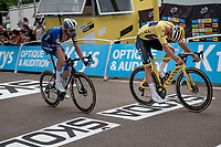 animator of the day & yellow jersey / GC leader Mathieu Van der Poel (NED/Alpecin-Fenix) sprinting for 4th against Kasper Asgreen (DEN/Deceuninck - Quick Step)<br /> <br /> Stage 7 from Vierzon to Le Creusot (249km)<br /> 108th Tour de France 2021 (2.UWT)<br /> <br /> ©kramon