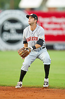 Second baseman Jeff Kobernus #37 of the Hagerstown Suns tracks a fly ball against the Greensboro Grasshoppers at NewBridge Bank Park July 30, 2010, in Greensboro, North Carolina.  Photo by Brian Westerholt / Four Seam Images