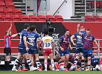 27th March 2021; Ashton Gate Stadium, Bristol, England; Premiership Rugby Union, Bristol Bears versus Harlequins; Referee Hamish Smales confirms Bristol Bears' try bringing the points level with the conversion to come