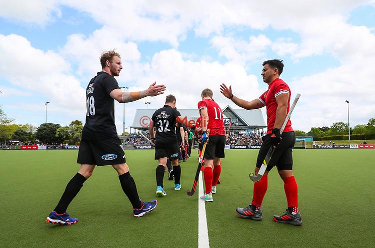 Players walk onto the field. International Hockey, Blacksticks men v Canada. Lloyd Elsmore Park, Auckland, New Zealand. Sunday 21 October 2018. Photo: Simon Watts/Hockey NZ