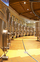 The winery with stainless steel fermentation vats. It is built in a circular design and made from chestnut wood to fight insects, Maison Louis Jadot, Beaune Côte Cote d Or Bourgogne Burgundy Burgundian France French Europe European